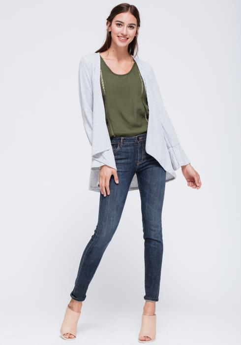 Open Front Ribbed Knit Bell Cuff Cardigan