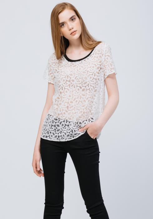 Sheer Dot Woven Lace Short Sleeve Top