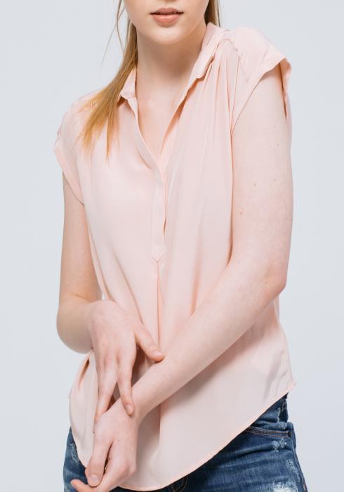 Silk Short Sleeve Shirt Blouse (100% Silk)