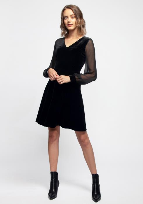 V-neck Black Mesh Velvet Dress