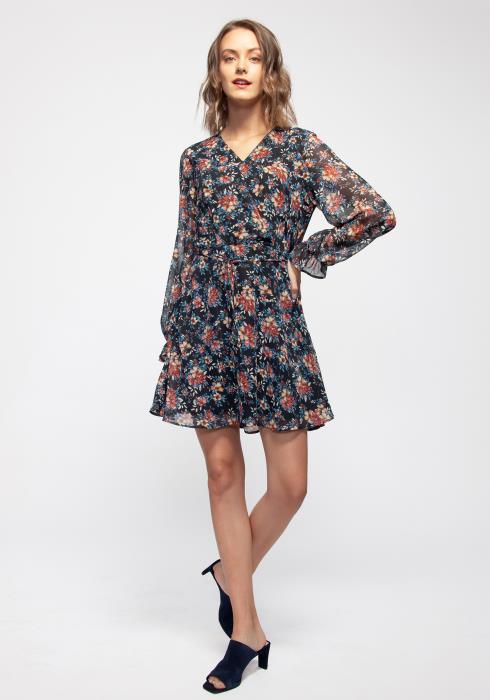 V-neck Surplice Front Floral Chiffon Dress