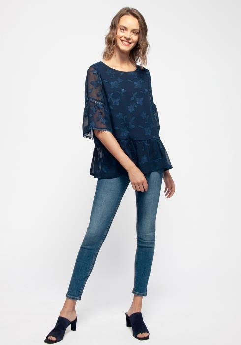 Embossed Floral Top With Lace Trim Bell Sleeve