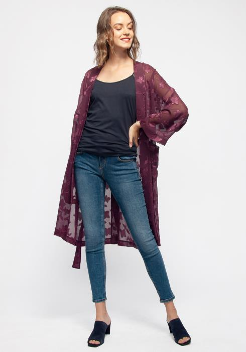 Sheer Floral Embossed Robe Cardigan