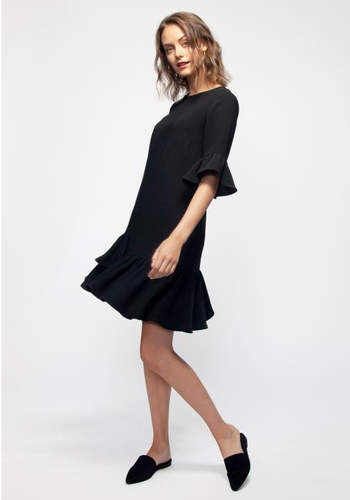 Layered Ruffle Hem Midi Black Dress