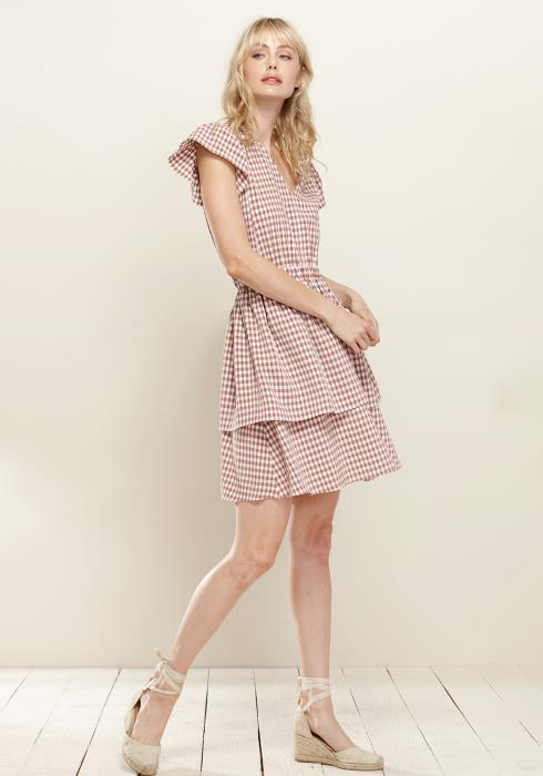Puff Shoulder Ruffle Checkered Dress