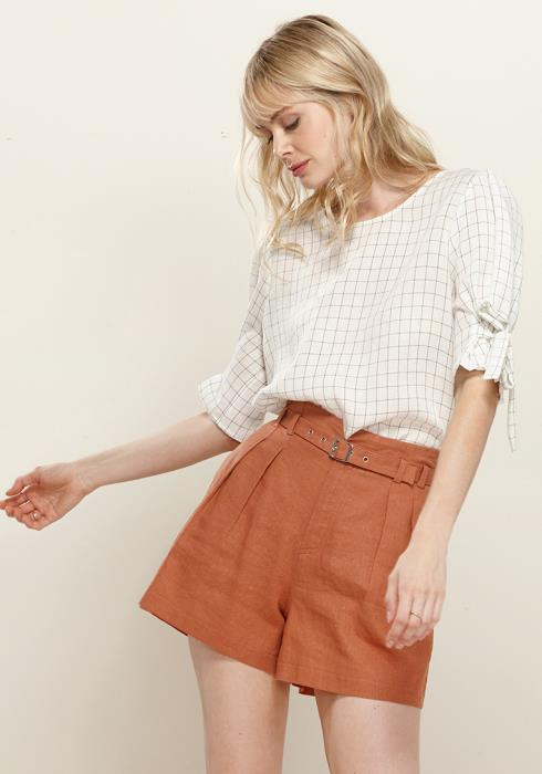 Tied Puff Shoulder Short Sleeve Top