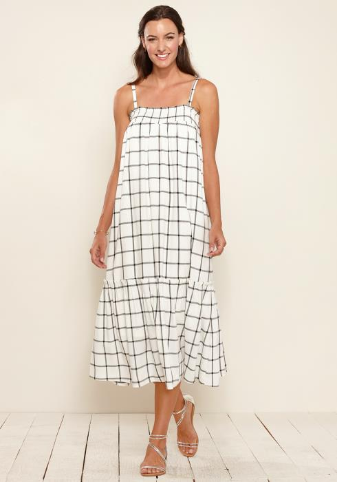 Grid Print Smocked Maxi Dress