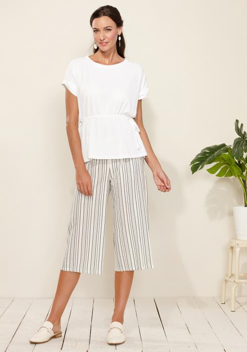 Stripe Print Wide Cropped Pants