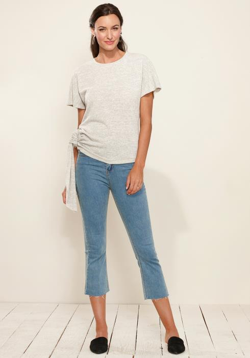 Side Tie Short Dolman Sleeve Top