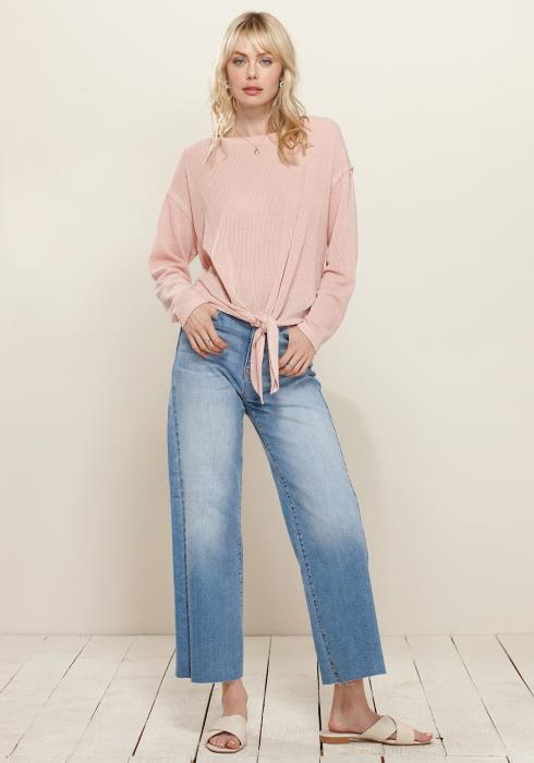 Tie Hem Ribbed Knit Top