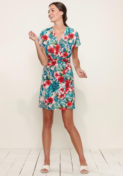 Tropical Wrap Front Dress
