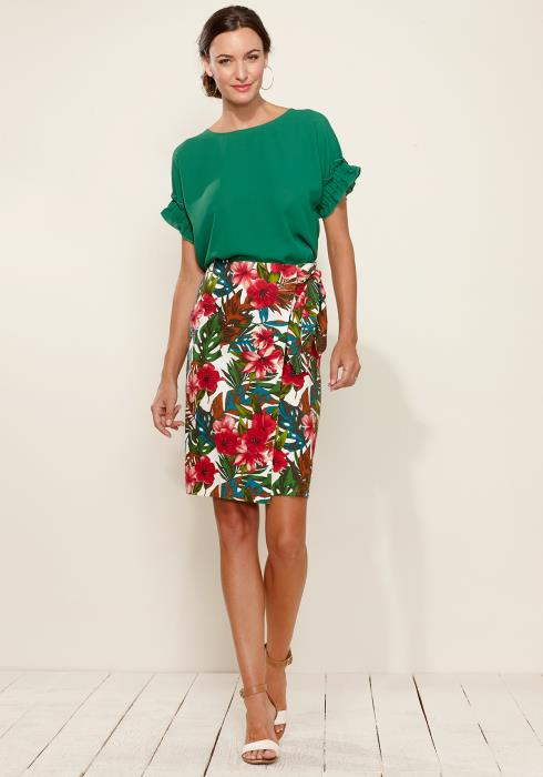 Tropical Side Tie Wrap Skirt