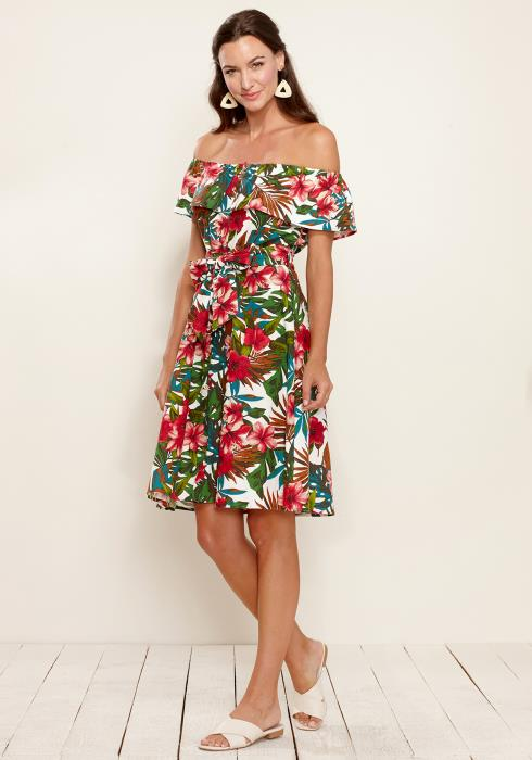 Tropical Off Shoulder Button Down Dress