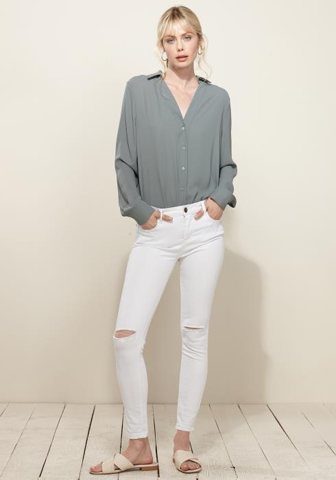V-Neck Front Placket Long Sleeve Blouse