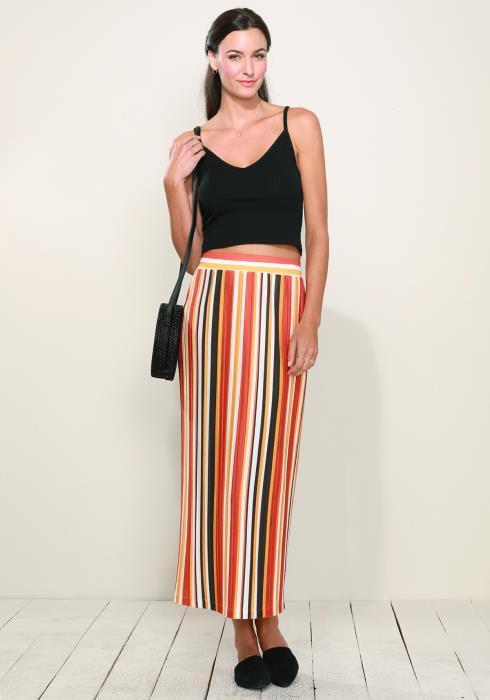 Elastic Waist Printed Maxi Skirt