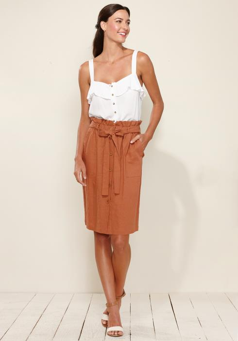 Linen Button Down Tie Waist Skirt