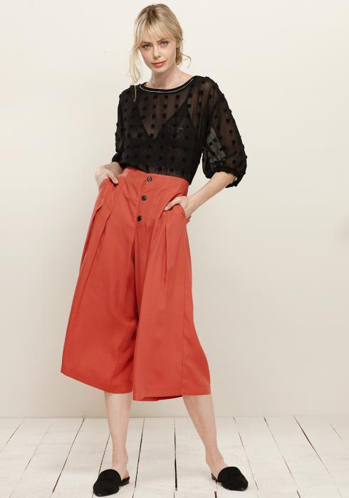 Button Front Pleated Wide Leg Pants