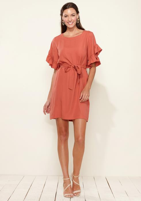 Square Neck Ruffle Sleeve Shift Dress