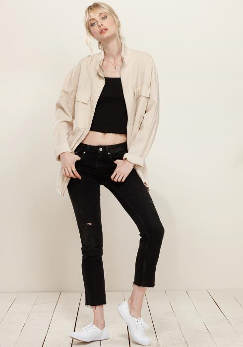 Stand Collar Long Sleeve Zip Up Jacket