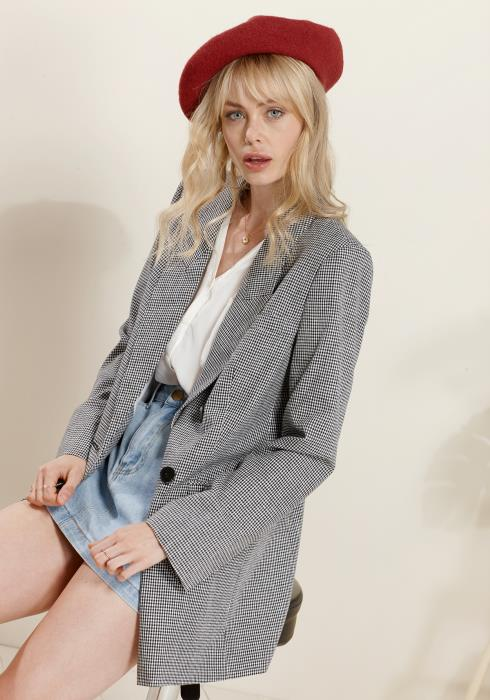 Plaid Double Breasted Drop Shoulder Blazer