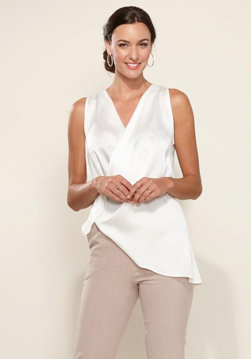 Sleeveless Wrap Asymmetrical Blouse