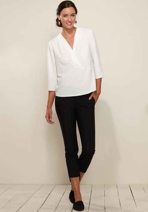 Surplice Front 3/4 Sleeve Blouse