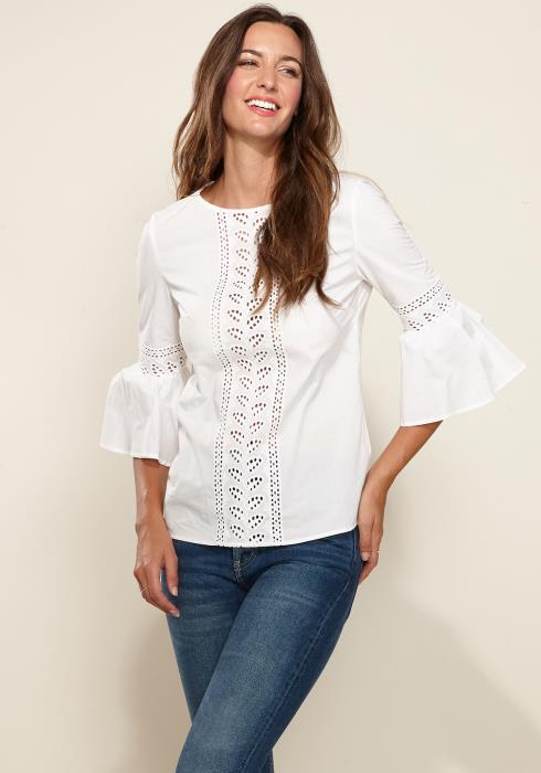 Bell Sleeve Lace Trim Cutout Top
