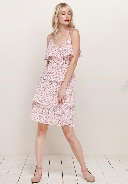 V-Neck Layered Ruffle Cami Dress