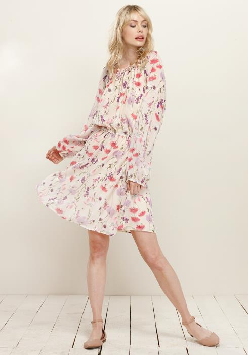 Gathered Tie Neck Floral Dress