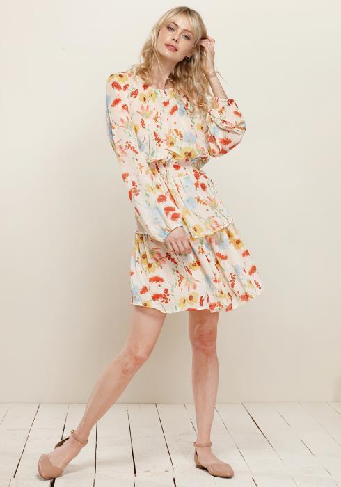 Smocked Waist Ruffle Chiffon Dress