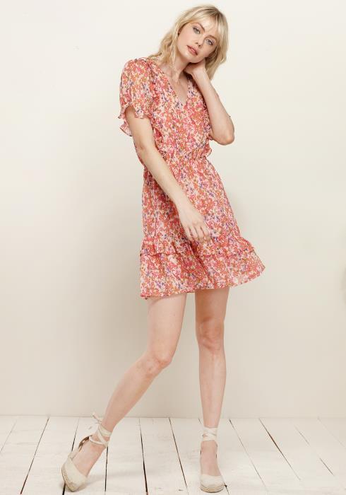 V-neck Ruffle Floral Chiffon Dress