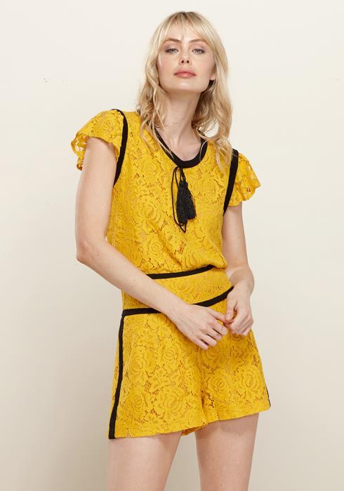 Floral Lace Tassel String Top