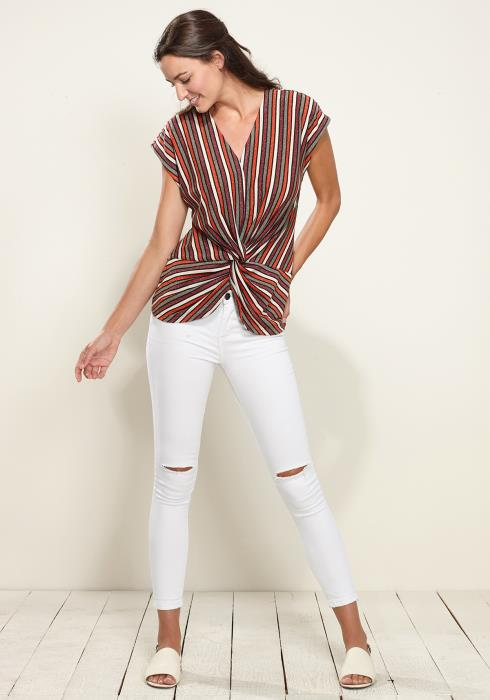Twist Front Sleeveless Knit Top