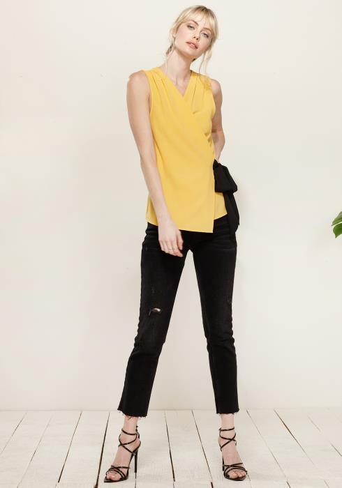 Pleated Wrapped Side Tie Blouse
