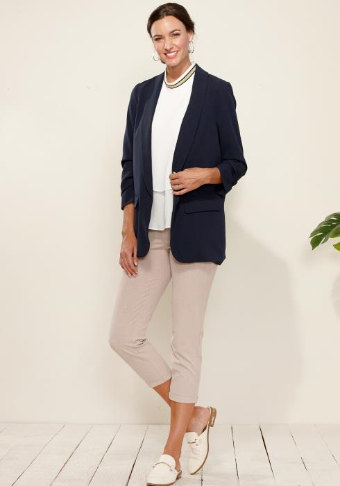 Gathered Sleeve Open Front Blazer
