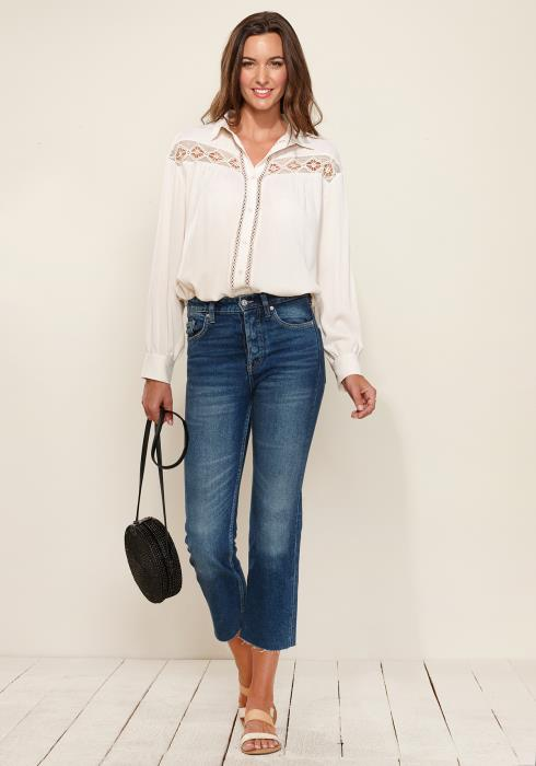 Button Down Lace Trim Blouse
