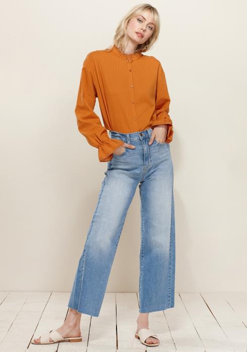 Lace Trim Mock Neck Button Down Blouse