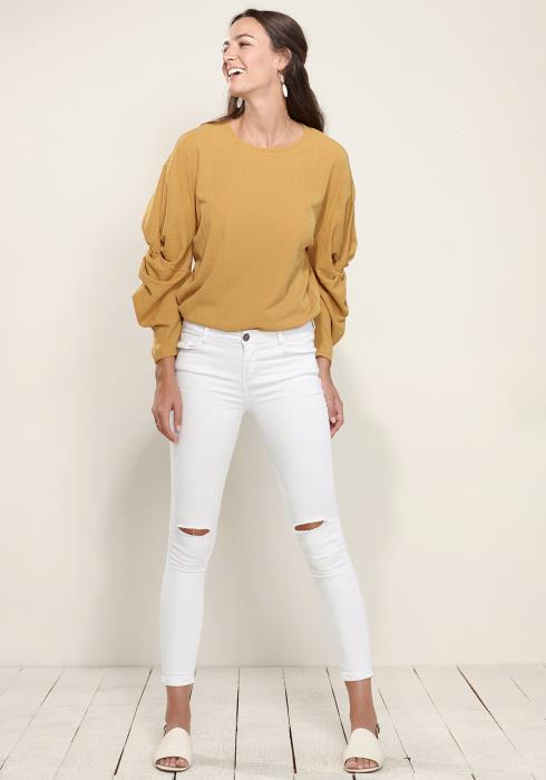 Ribbed Gathered Sleeve Top