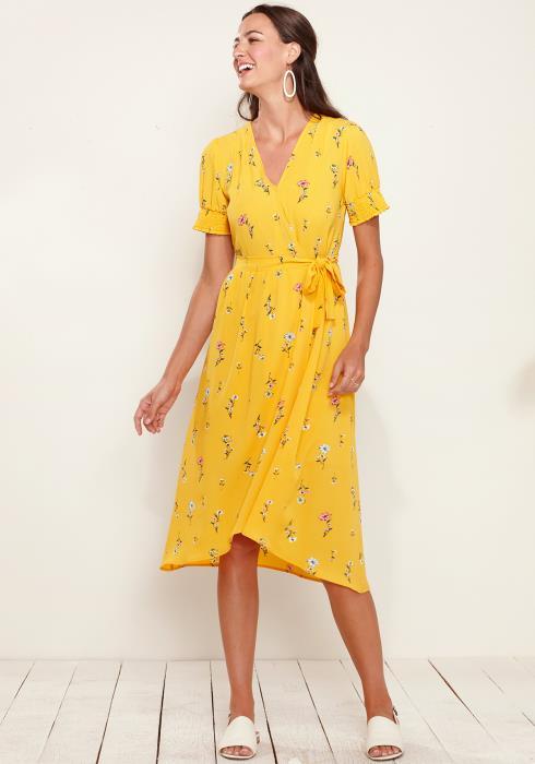 Smocked Short Sleeve Wrap Dress