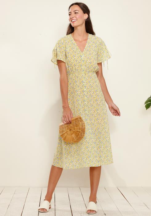 Button Down Floral V-Neck Maxi Dress