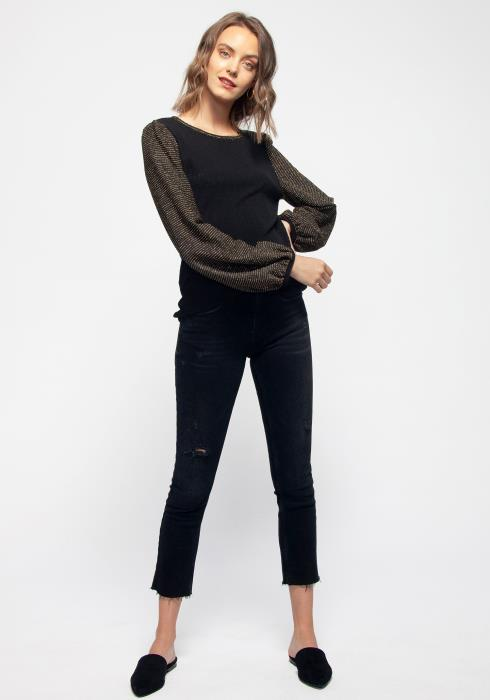 Ribbed Round Neck Holiday Top