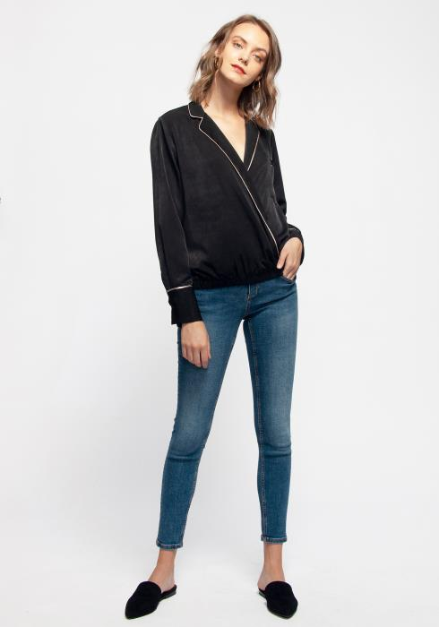 V-neck Surplice Front Pajama Blouse