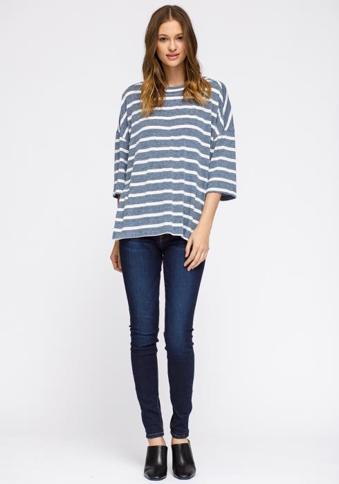 Crewneck Stripe Drop Shoulder Tee