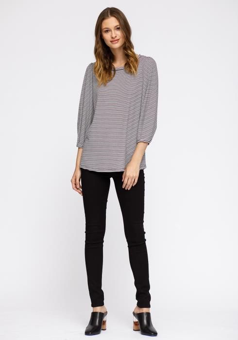 Crewneck 3/4 Sleeve Stripe Top