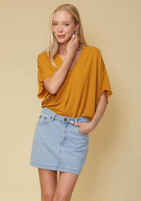 Hi-Lo Dolman Short Sleeve V-neck Blouse