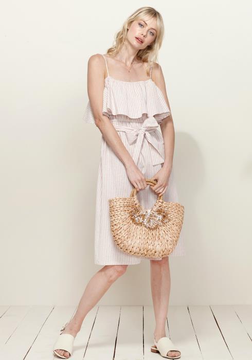 Plus size Ruffle Emipire Tie Waist Sun Dress