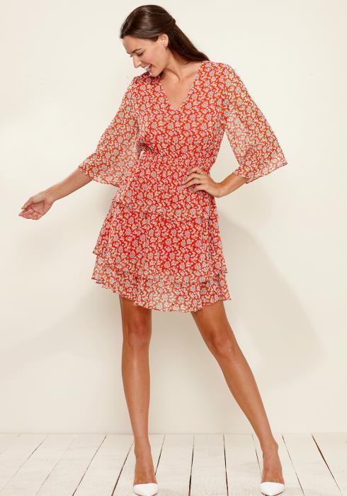 Plus Size Floral Layered Ruffle Chiffon Dress