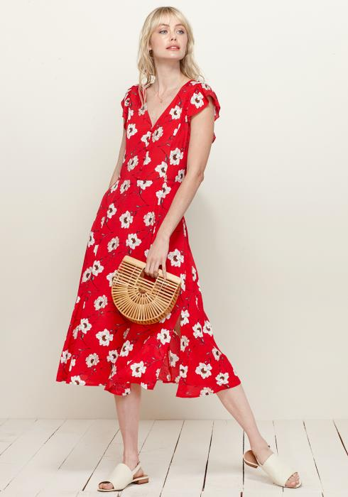 Plus Size Button Front V-Neck Print Dress