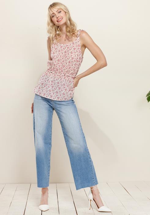 Plus Size Ruffle Trim Floral Cami Blouse