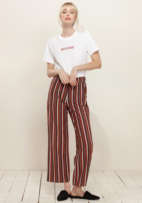 Plus Size Multi Stripe Printed Wide Leg Pants